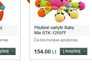 Tinklapių kūrimas: Baby brand